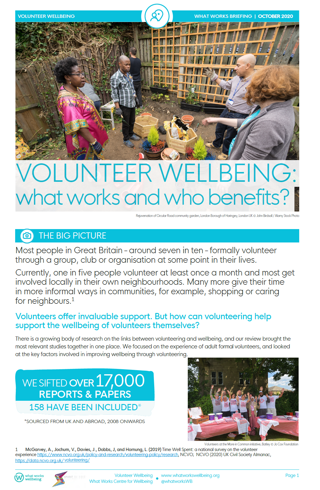 Volunteer wellbeing: what works and who benefits?
