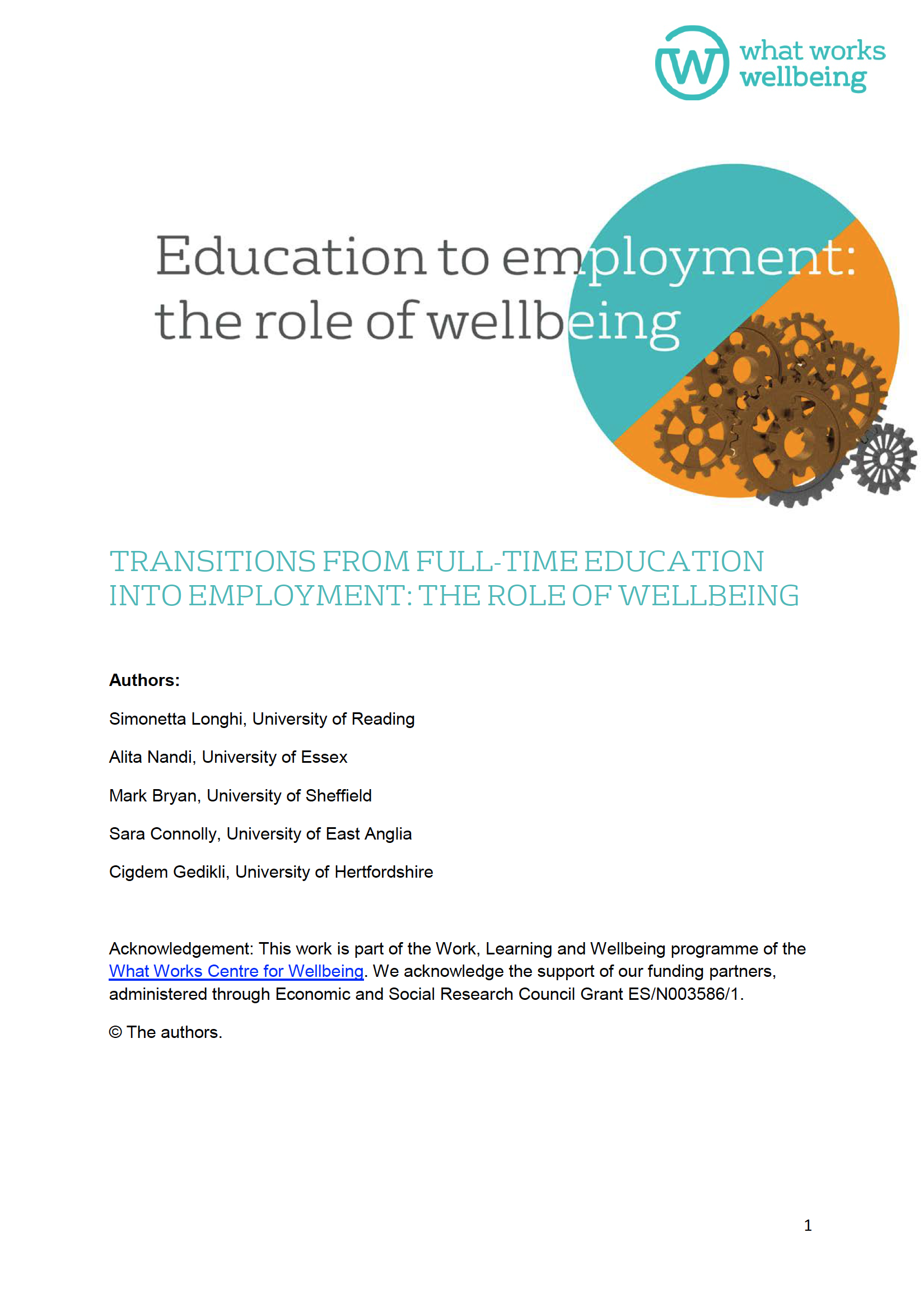 Education To Employment: The Role Of Wellbeing