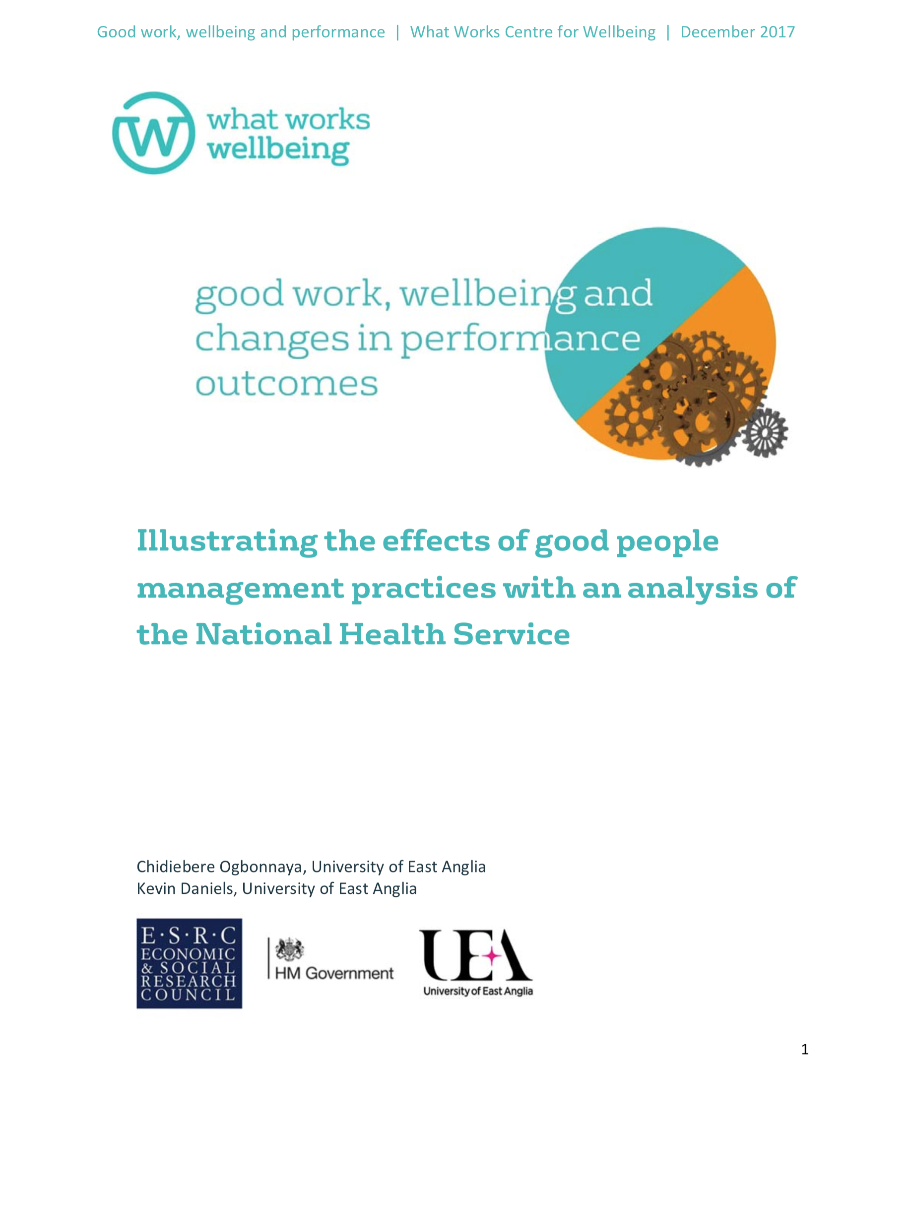 Good Work, Wellbeing And Changes In Performance Outcomes