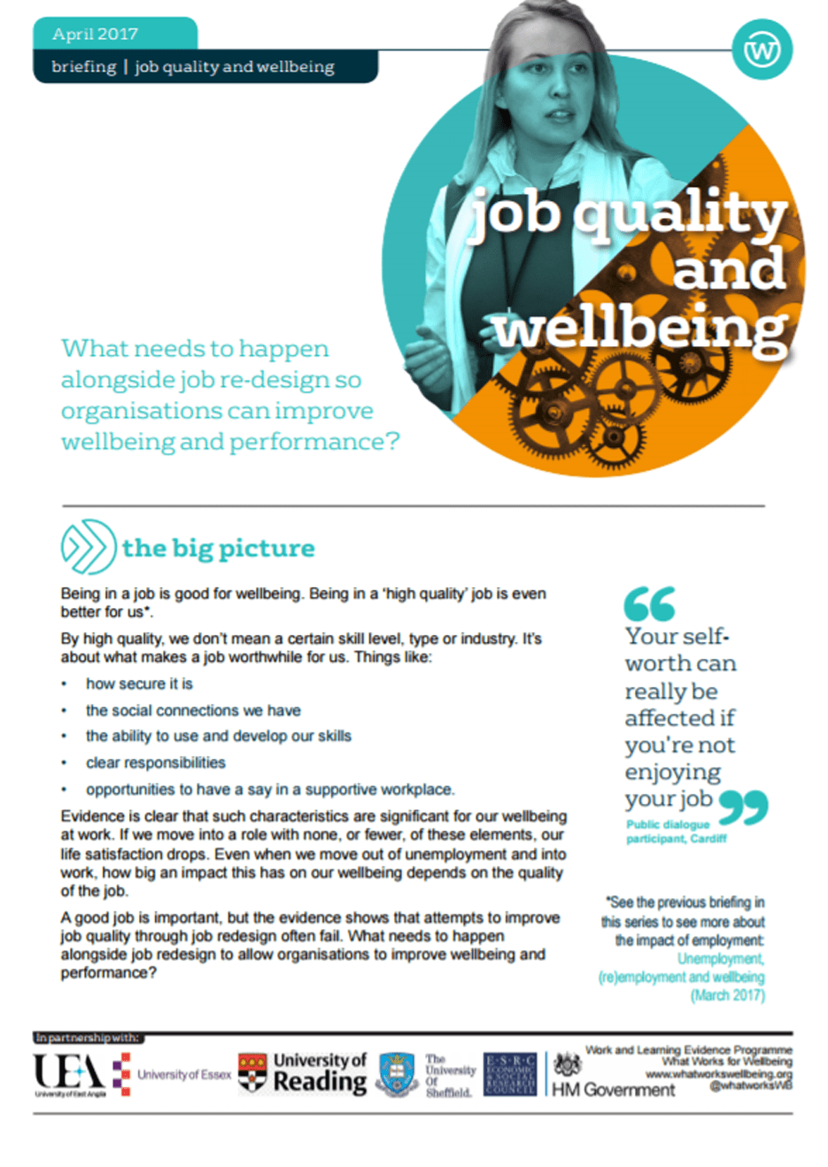 Job Quality and Wellbeing