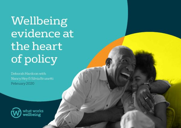 cover of report: wellbeing evidence at heart of policy