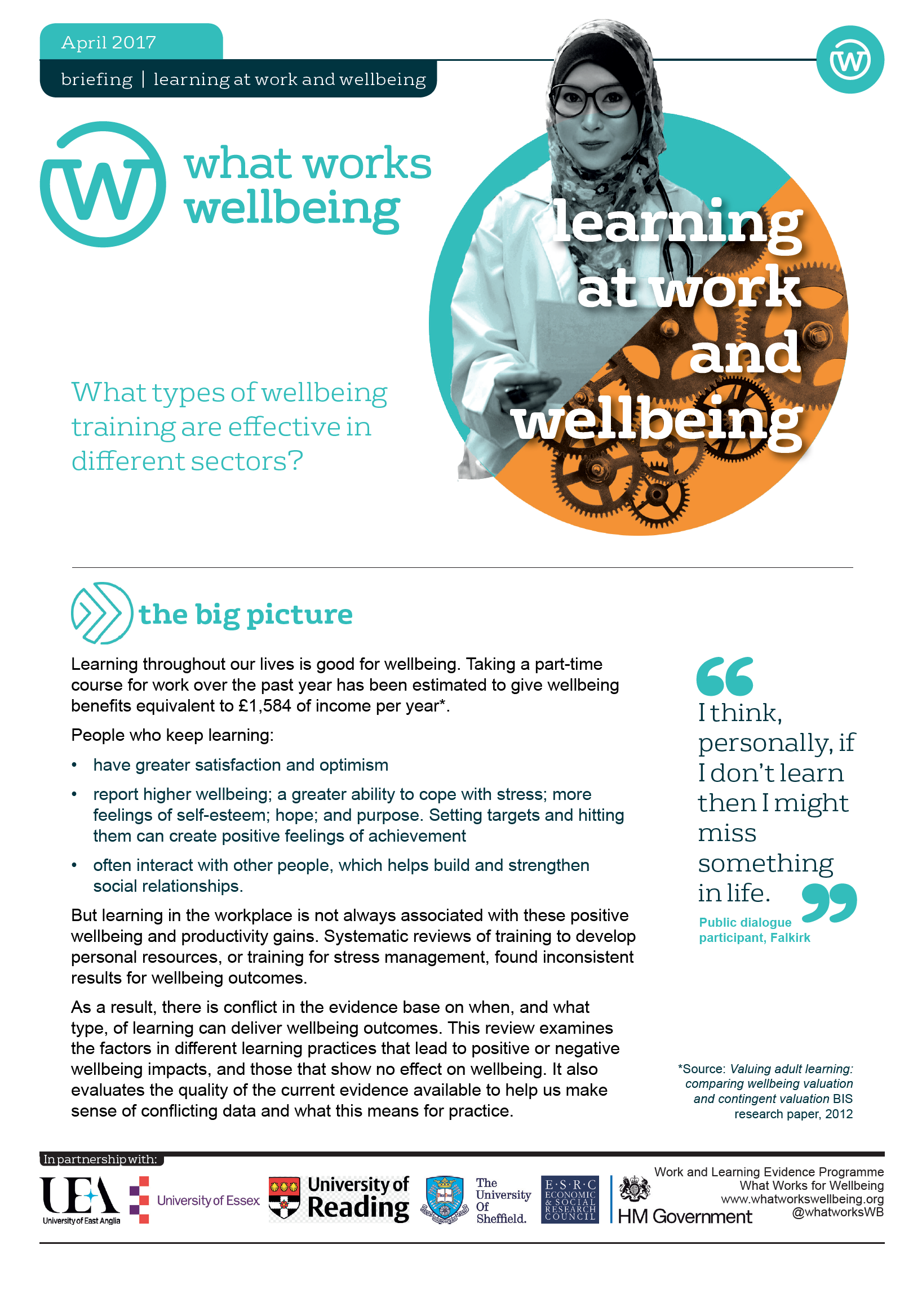 Learning at Work and Wellbeing