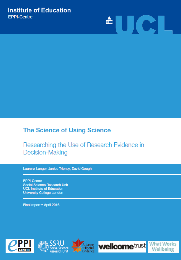 The Science of Using Science: Researching the Use of Research Evidence in Decision-Making