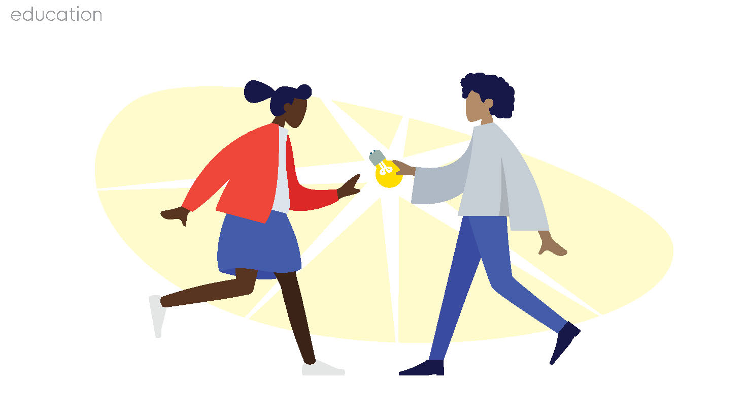image of one person handing a lightbulb to another