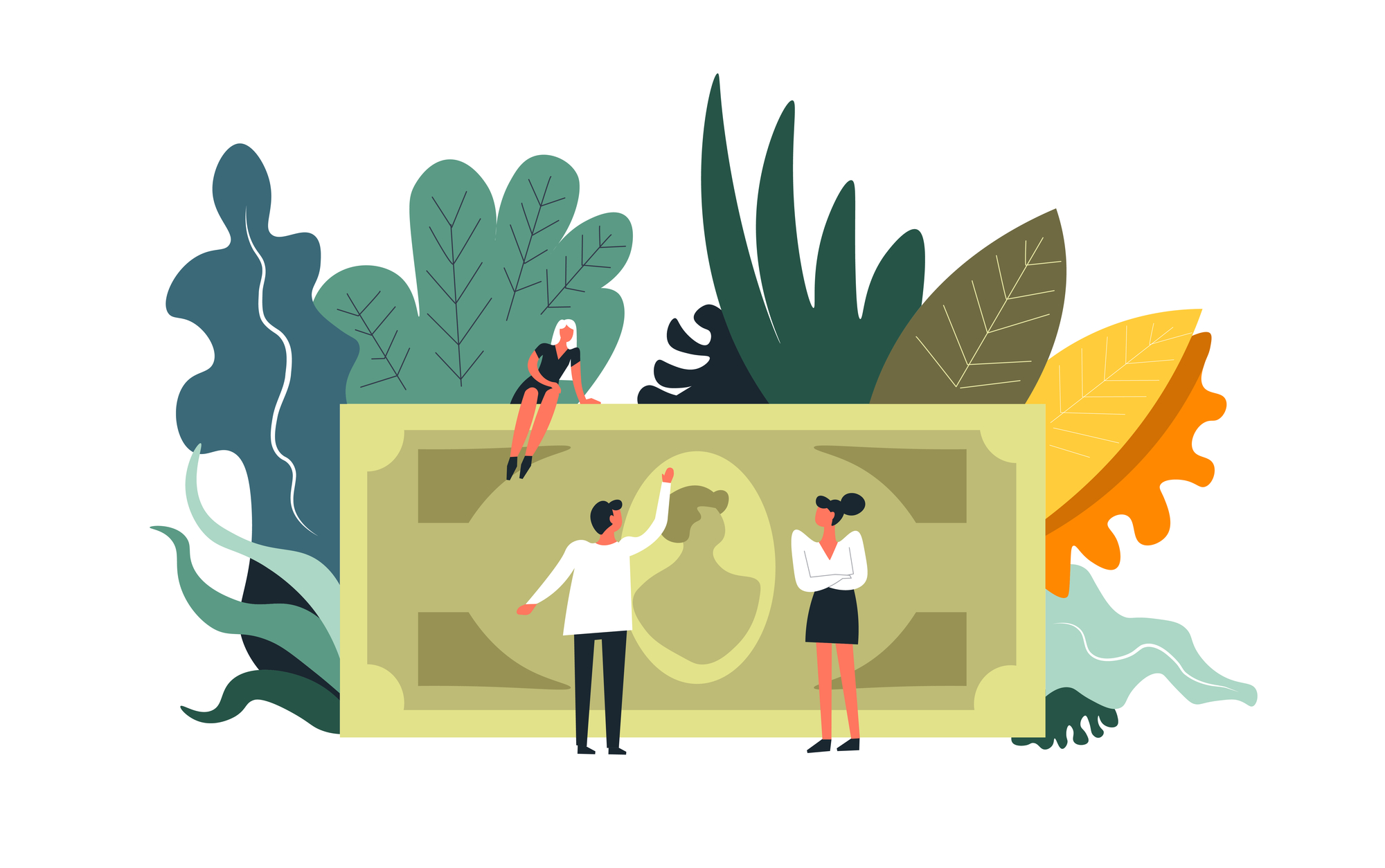 illustration of people looking up at a giant money note
