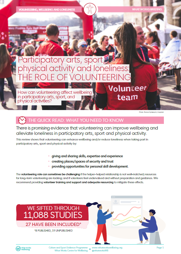 Participatory arts, sport, physical activity and loneliness:the role of volunteering