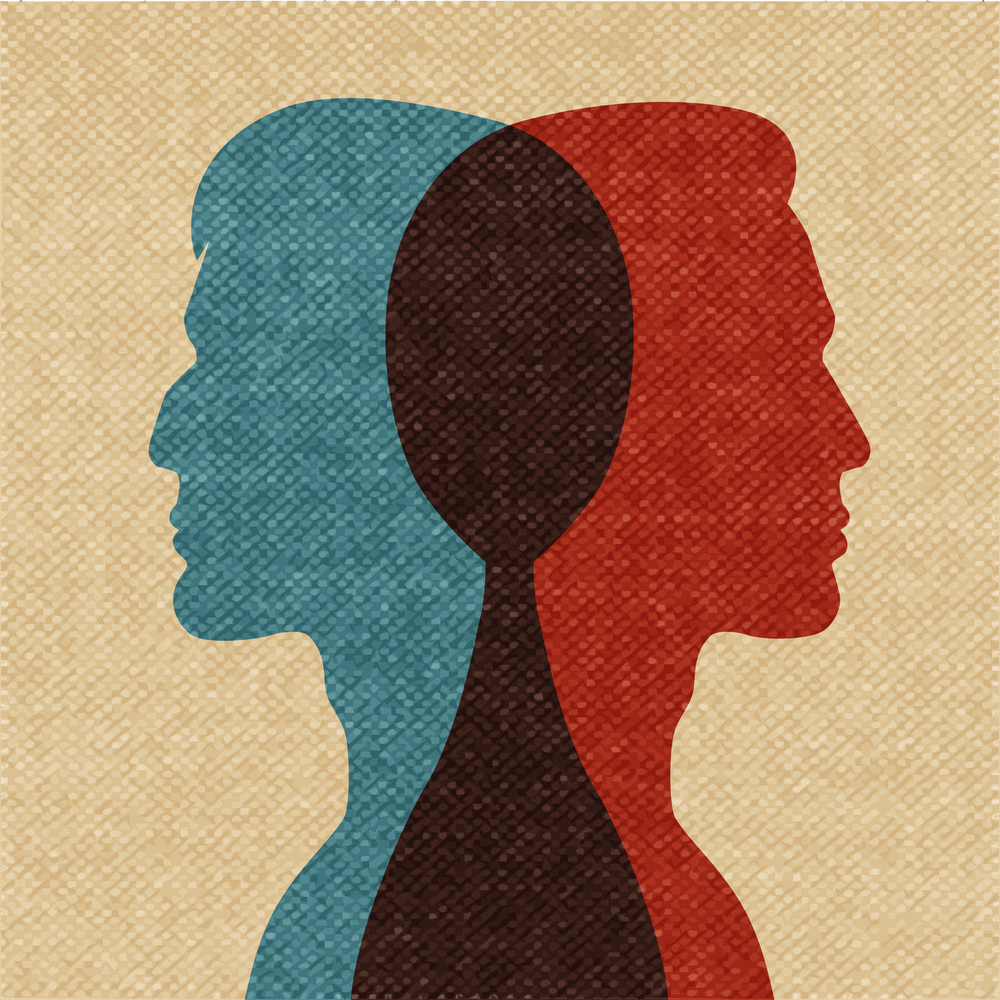 Overlapping silhouettes of two people