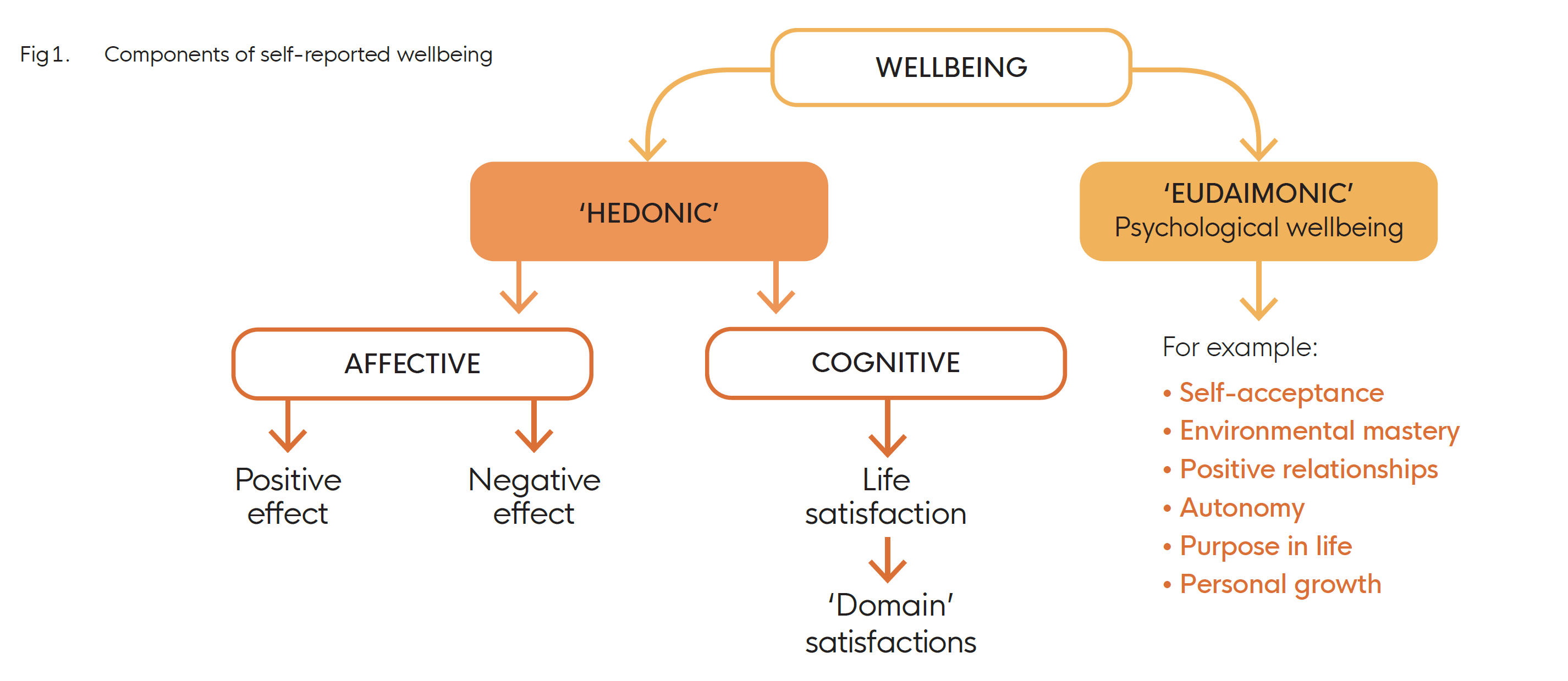 Diagram showing different aspects of wellbeing