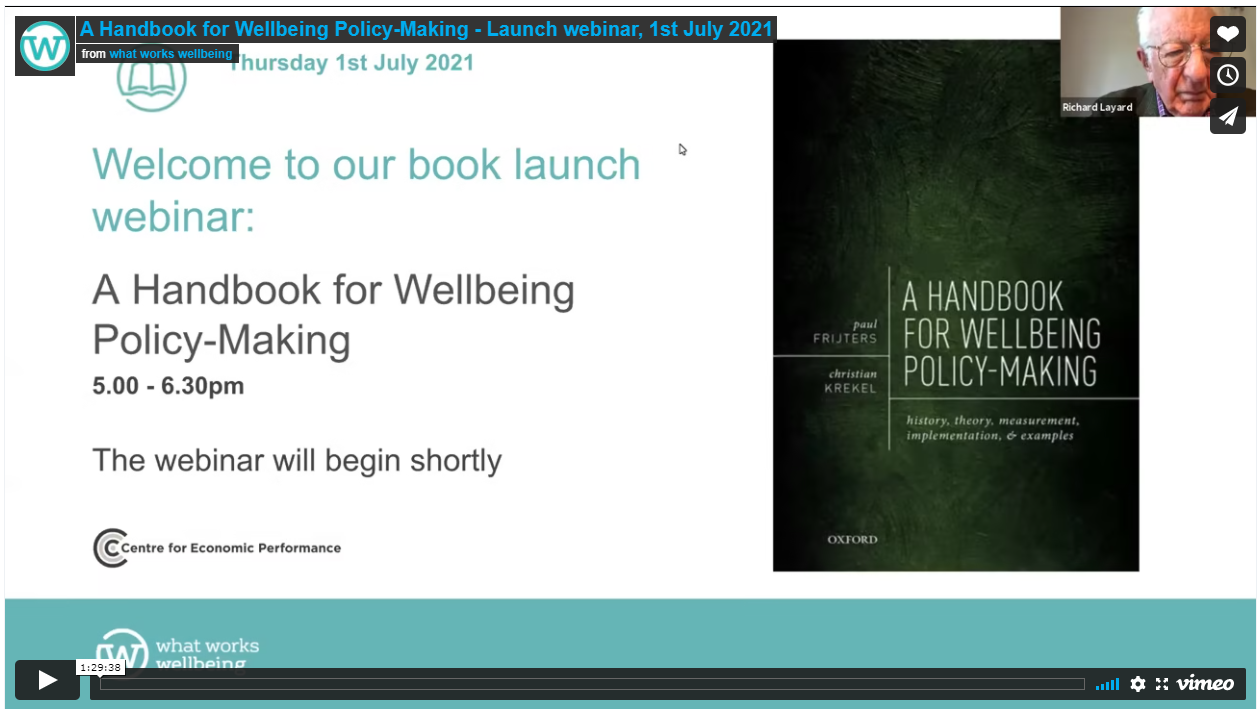 A Handbook for Wellbeing Policy-Making: launch webinar