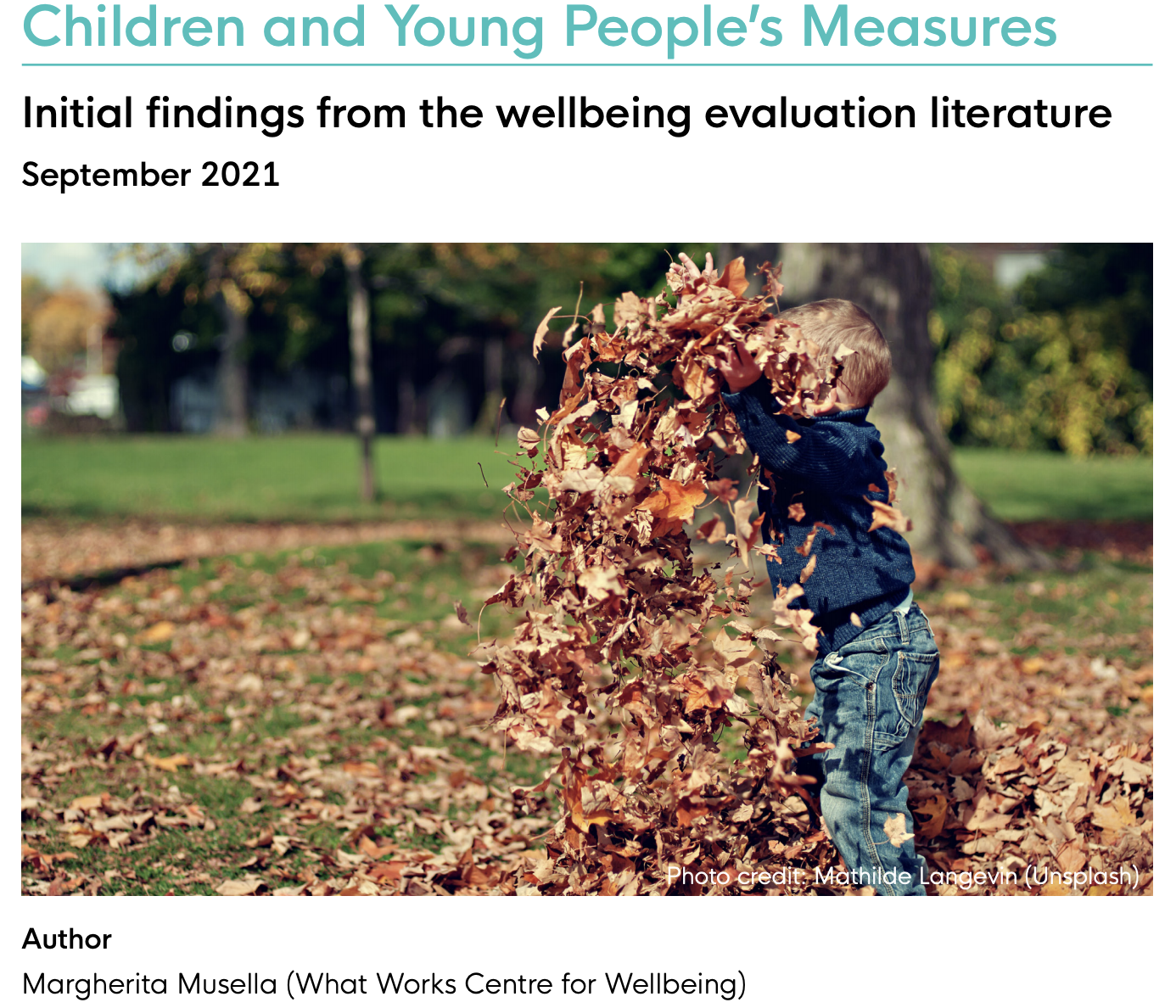 Children and Young People's Measures: ONS4 evaluations and beyond