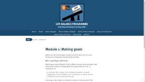 Screenshot of the Life Balance Programme