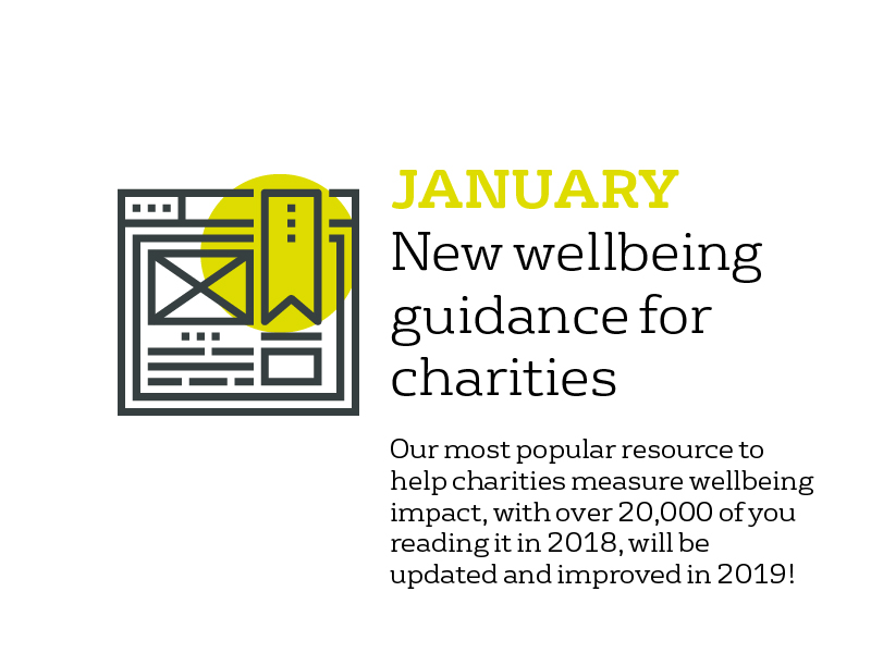 January - new guidance for charities: our most popular resource to help charities measure wellbeing impact, with over 20,000 of you reading it in 2018, will be updated in 2019.