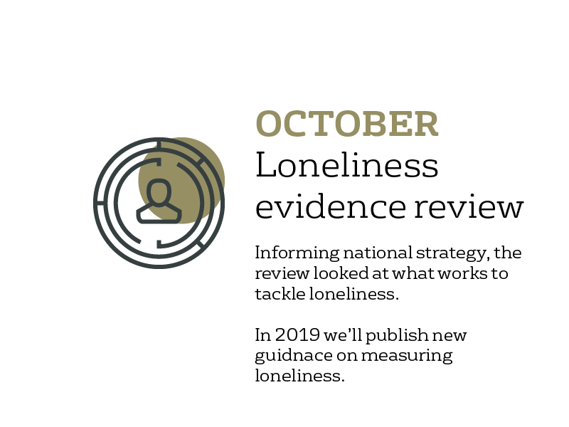 October- loneliness evidence review published: informing national strategy, the review looks at what works to tackle loneliness. In 2019 we'll publish new guidance on measuring loneliness.